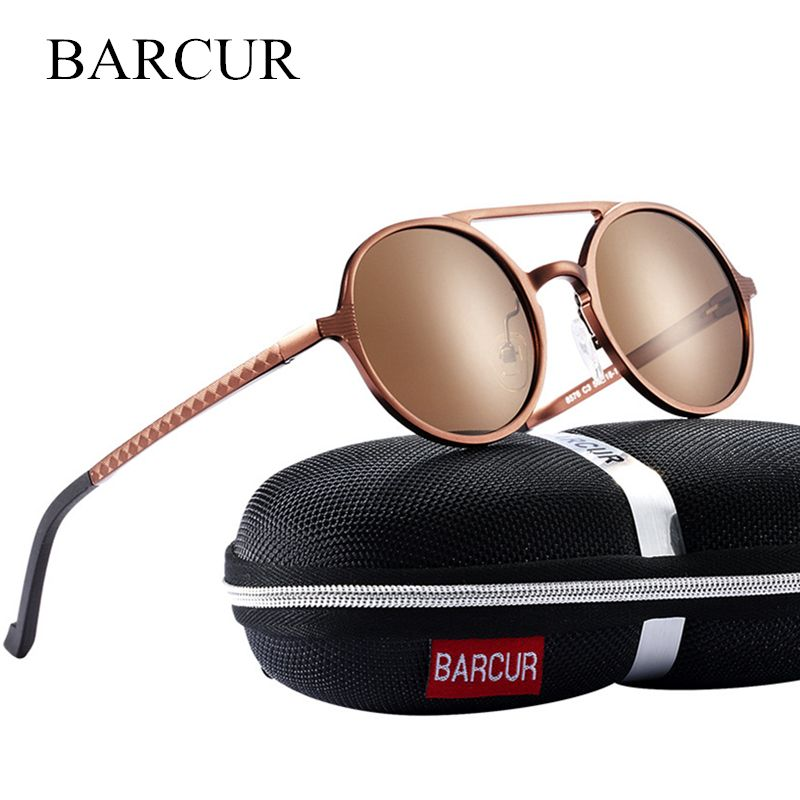 BARCUR Vintage Aluminum Magnesium Sun glass Men Polarized Sunglasses Round Steampunk Shades Brand <font><b>Designer</b></font> Eyewear