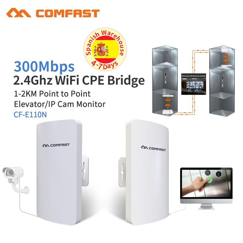 1-2KM Wireless Outdoor CPE WIFI Router 300Mbps Access Point AP Router WDS WIFI Bridge Ip Cam Monitor WI FI Repeater Extender