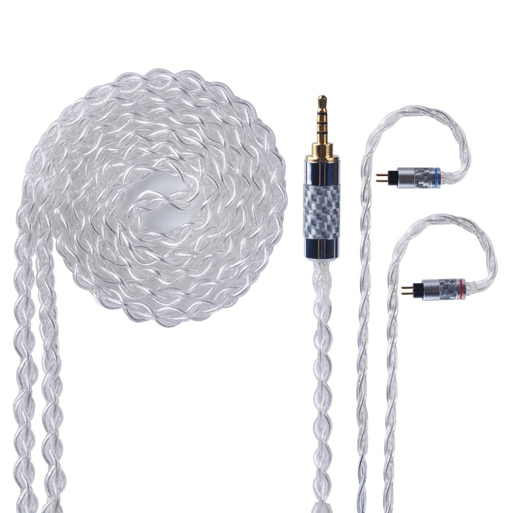 Yinyoo 4 Core Pure Silver Cable 2.5/3.5/4.4mm Balanced Earphone Upgrade Cable With MMCX/2Pin for KZ ZST AS10 HQ10 HQ8 RX8 QT2