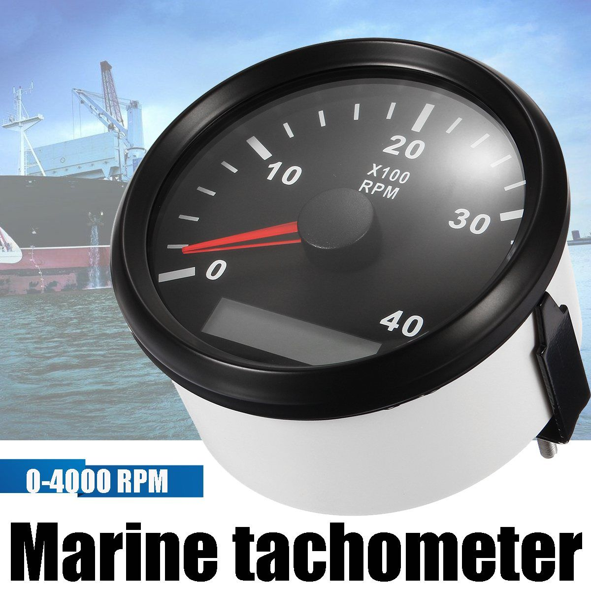 12/24 v 0-4000 Boot RPM 85 mt Marine Boot Tachometer-lehre LCD Meter Tacho Betriebsstundenzähler Boot RPM Weiß Schwarz Mit Kabel