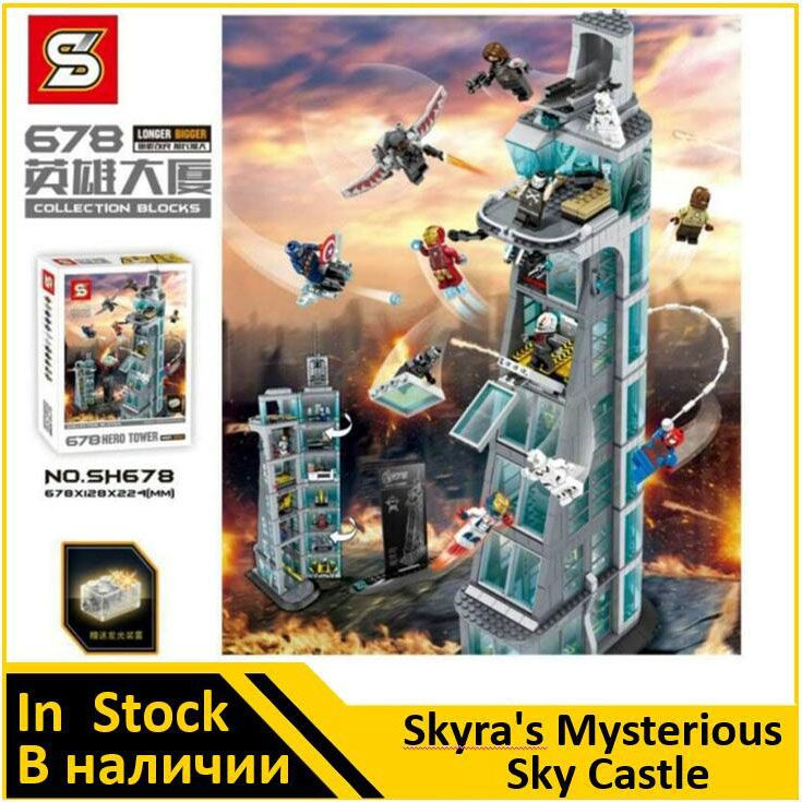 SH678 Avenger Attack on Avengers Tower 7th floor Building Blocks Marvel Super Heroes Figures Compatible 76038