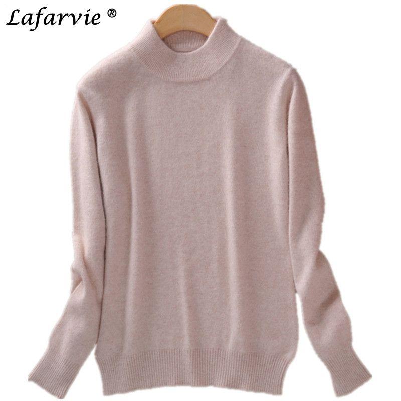 Lafarvie mode cachemire mélangé chandail tricoté femmes tops automne hiver col roulé plein manches pull femme pulls pull