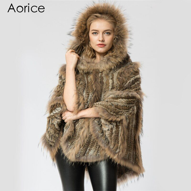 SRR004-2 Real Knitted rabbit & raccoon Fur Shawl poncho stole shrug cape robe tippet wrap women's winter warm coat/outwear