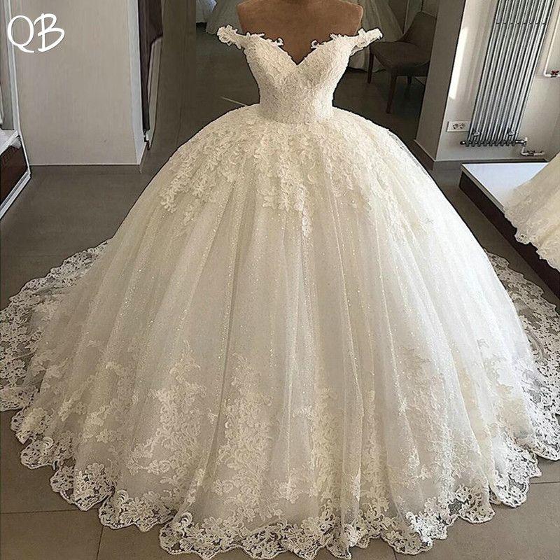 Ballkleid Schatz Fluffy Rock Spitze Appliques Luxus Formale Hochzeit Kleider Braut 2019 Neue Hochzeit Kleider XL10