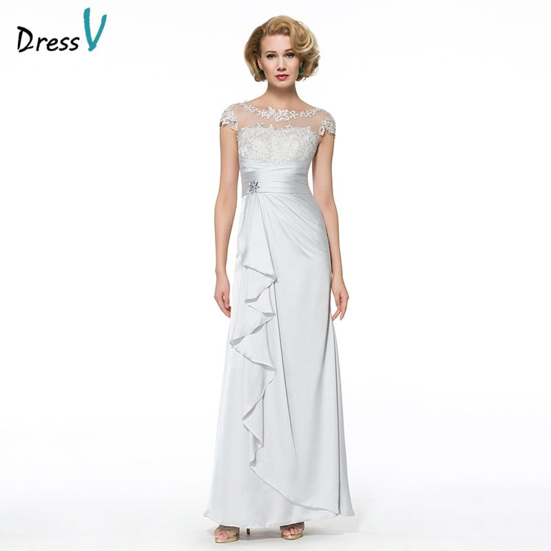 Dressv Long Mother Of The Bride Dress Sheath Cap Sleeves Appliques Beading Lace Satin Chiffon Custom Wedding Party Mother Dress