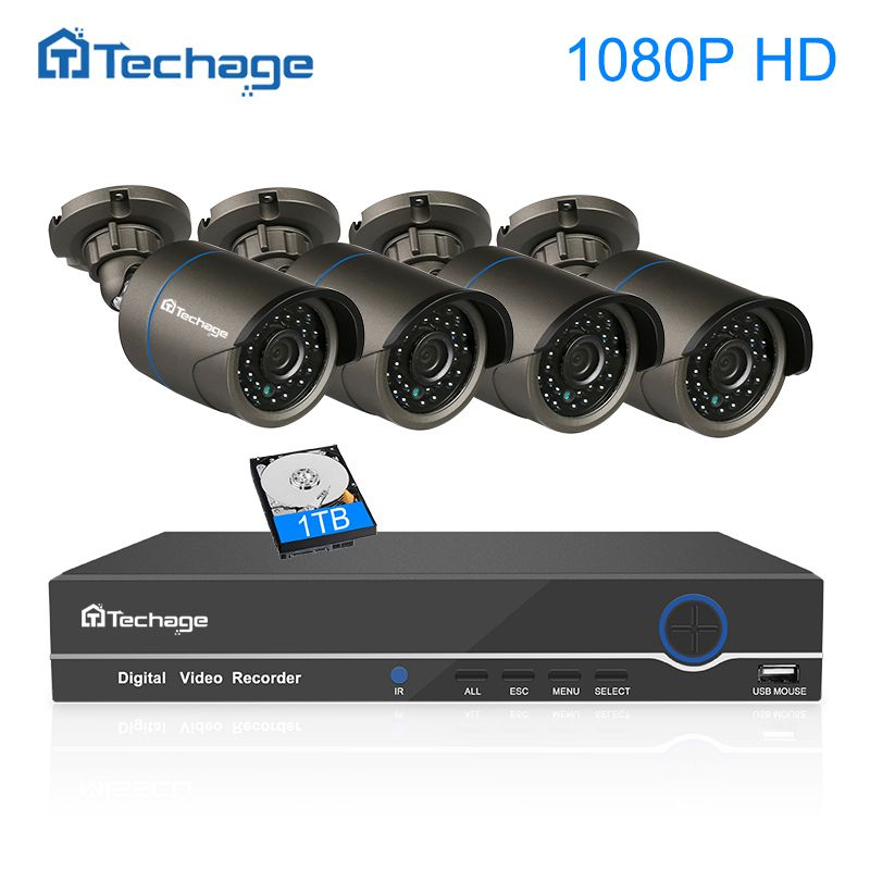 Techage 8CH 4CH 1080P NVR Kit POE CCTV System 4PCS 2MP Outdoor IP Camera IP66 Waterproof P2P Onvif Security Surveillance System