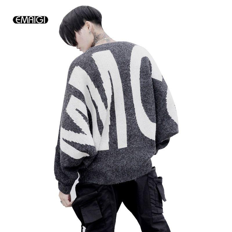 Для мужчин высокого хип-хоп Свободный рукав «летучая мышь» свитер мужской моды Повседневное хип-хоп Пуловеры для женщин трикотажная верхня...