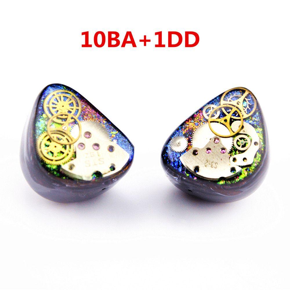 Neueste Wooeasy 10BA Mit 1 DD in Ohr Kopfhörer Bunte Getriebe Maß Hybrid Um Ohr Kopfhörer Mit MMCX Überzogene kopfhörer