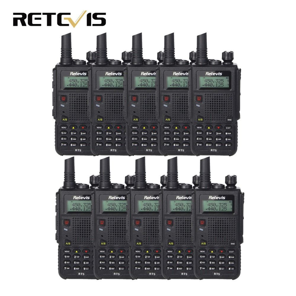 10pcs 7W Walkie Talkie Retevis RT5 VHF+UHF 136-174+400-520MHz Dual Band Scan VOX Ham Radio Hf Transceiver A9108Q