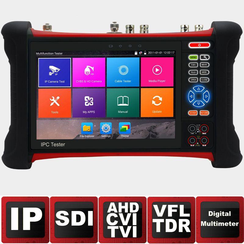 7-дюймовый IP Камера тестер видеонаблюдения тестер CVBS Мониторы Аналоговый тестер с SDI/TVI/AHD/CVI /HDMI/tdr/оптический Powermeter/VFL POE