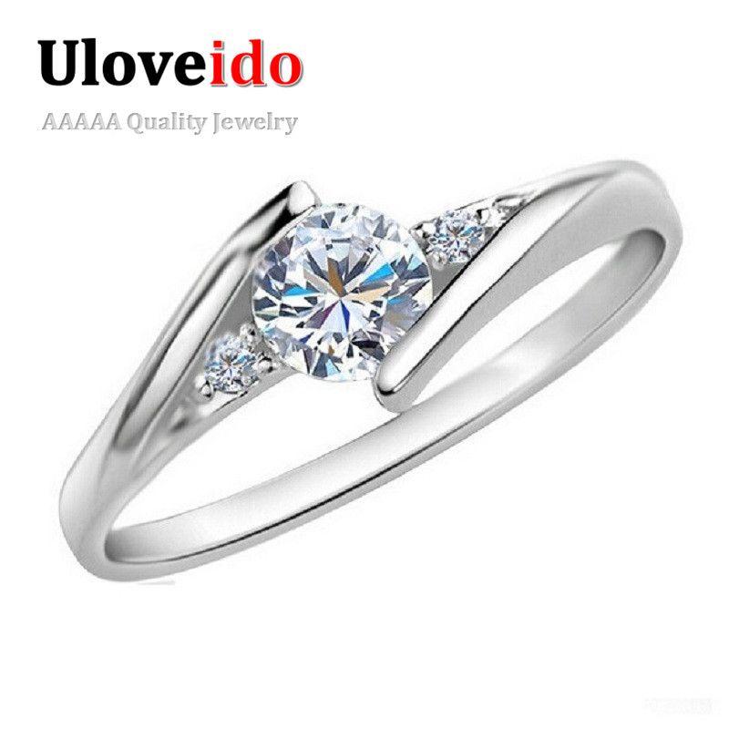 Uloveido Frauen Ringe Liebe Bijouterie Silber Kristall Hochzeit Ring Fianit Anel Feminino Valentinstag Geschenk Modeschmuck J045
