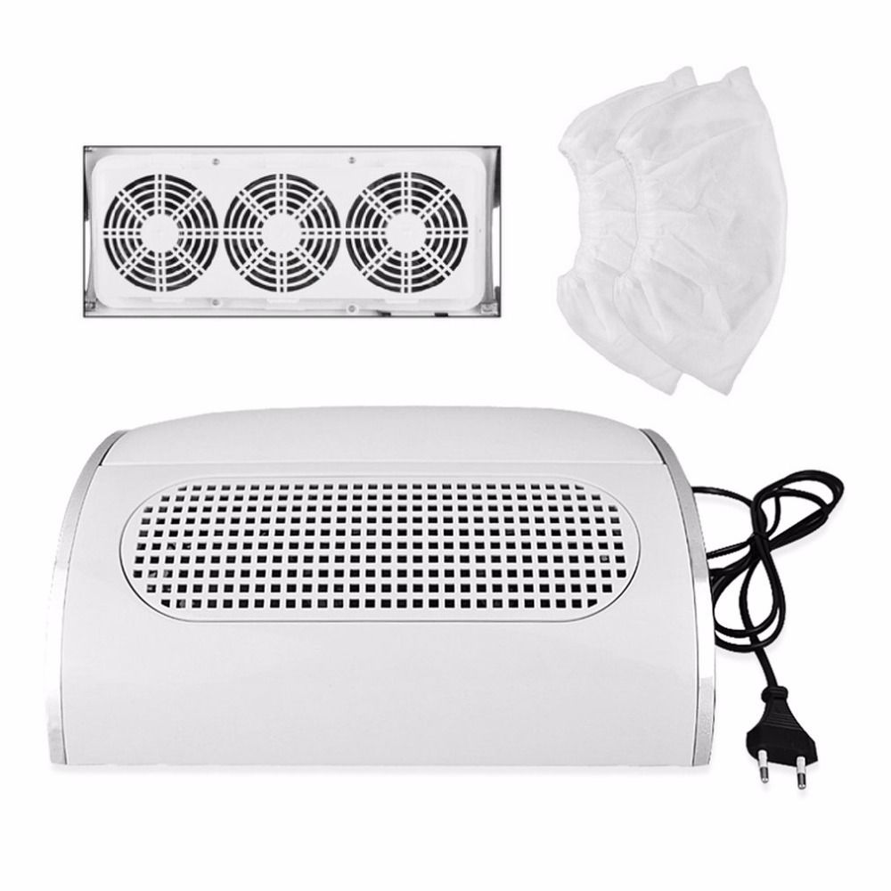 Professional Nail Dust Suction Collector Vacuum Cleaner Manicure Salon Tools with 3 Powerful Fan EU Plug Nail Art Equipment