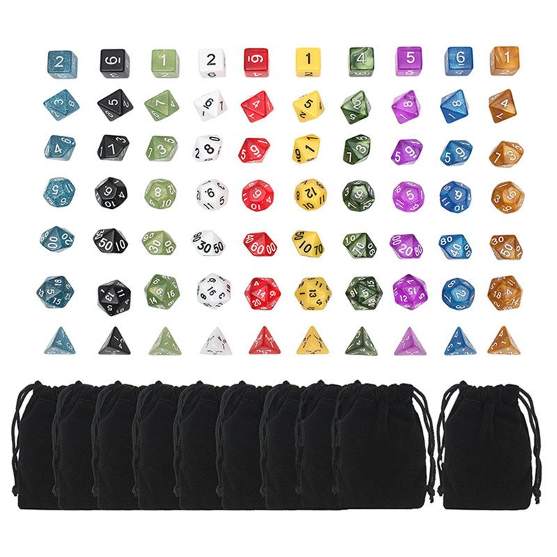Top Games Dice 20 Set 4D 6D 8D 10D 12D 20D With Pouch Bags 70pcs Polyhedral Dice 10 Sets For Dungeons And Dragons DND RPG MTG