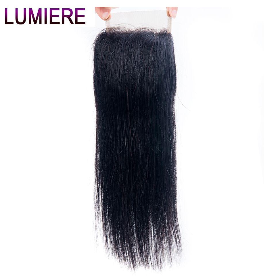 Lumiere cheveux péruvien droit cheveux humains dentelle fermeture Remy cheveux humains fermeture 8-20 pouces gratuit/trois/milieu partie couleur naturelle