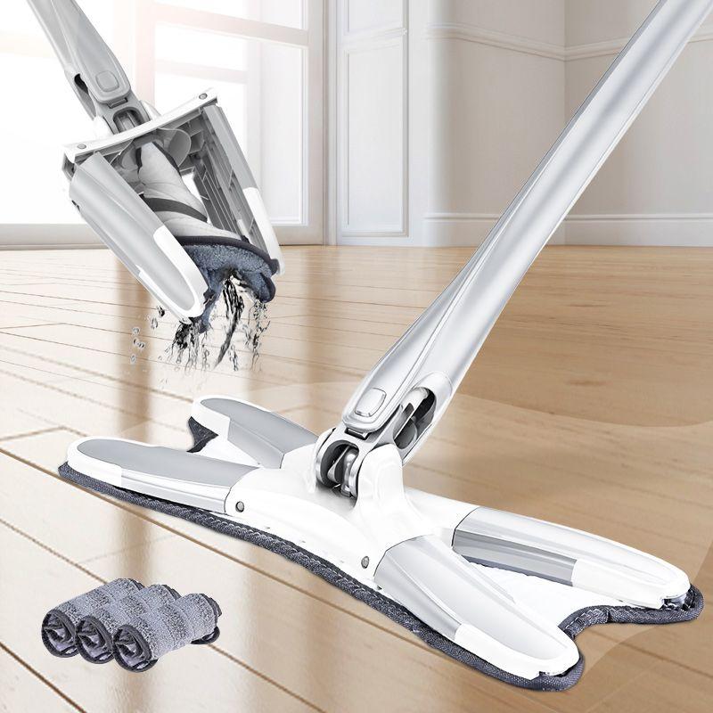 La vadrouille de plancher en microfibre Congis x-type avec 3 pièces de vadrouille remplace les outils de nettoyage ménager d'extrusion manuelle de vadrouille plate de lavage sans main