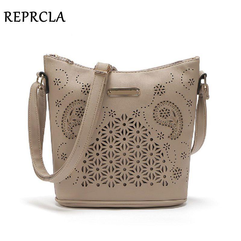 REPRCLA Hollow Out Women Bucket Bags Vintage <font><b>Shoulder</b></font> Bag Crossbody High Capacity Women Messenger Bags Ladies Handbags