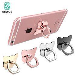 Siancs 360 grados del oído del gato anillo de dedo teléfono móvil smartphone soporte para iphone ipad xiaomi todos Smart teléfono