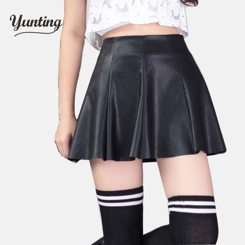 Nouveau 2019 mode coréenne noir rouge PU cuir jupe femmes Vintage taille haute plissée jupe livraison gratuite femme jupes courtes 2XL