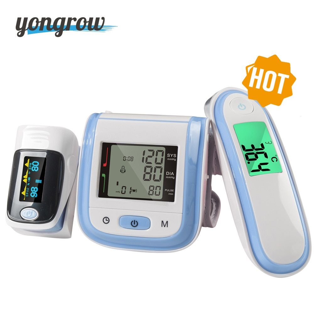 Yongrow Digital Wrist Blood Pressure Monitor and Fingertip Pulse Oximeter SpO2 and Baby Infrared Thermometer Family Health care
