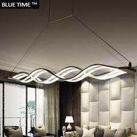 ONDA diseño araña para comedor habitación negro blanco luces de la lámpara moderna lámpara de iluminación led AC 85-260 V 100 CM 120 cm
