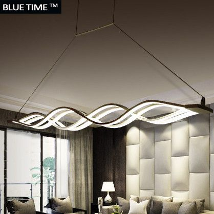 Wave design Chandelier for dinning room Black White chandelier lights modern chandelier <font><b>led</b></font> lighting AC 85-260V 100CM 120CM
