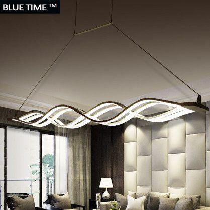 Wave design Chandelier for dinning room <font><b>Black</b></font> White chandelier lights modern chandelier led lighting AC 85-260V 100CM 120CM