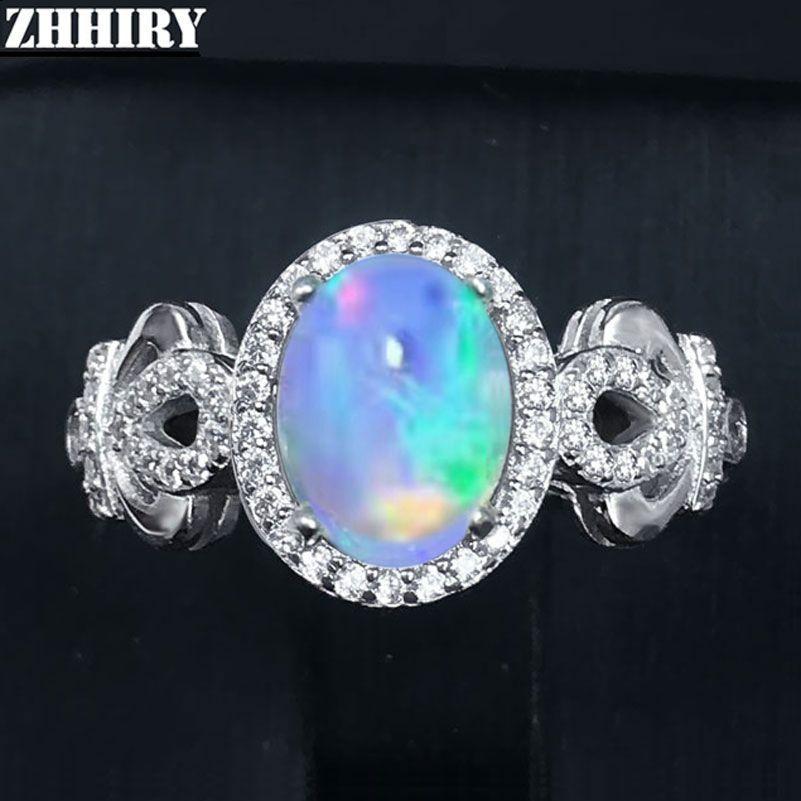 ZHHIRY Véritable Naturel Opale de Feu Anneau Solide 925 En Argent Sterling Pour Les Femmes Couleur Anneaux De Pierre Gemme Fine Jewelry