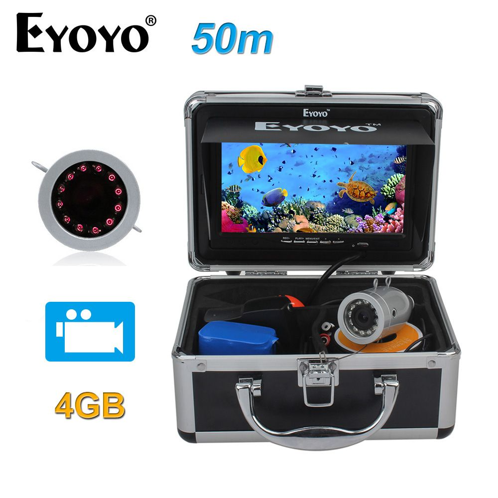 Eyoyo Original 50m Full Silver Fish Finder HD 1000TVL Underwater Fishing Camera Video Recording DVR Infrared LED Sunshield