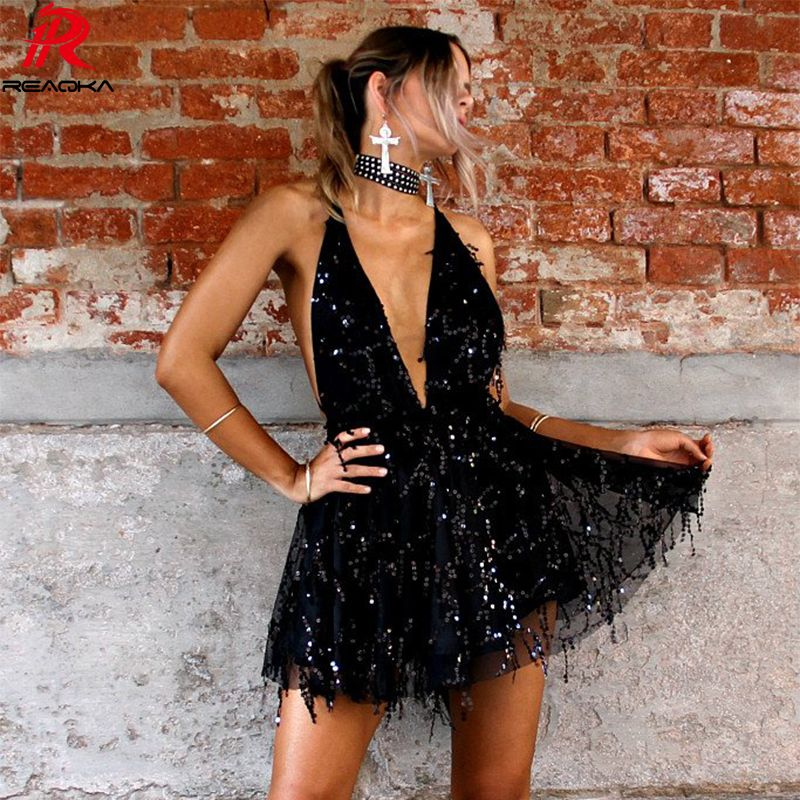 Reaqka Sexy Sequined Dresses Women Backless Halter Black <font><b>Gold</b></font> Mini Dress Party 2018 New Arrivals Tassel Summer Dress Club Wear