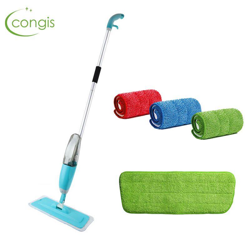 Congis Spray Mop + 3 pièces chiffon de nettoyage tête combinaison plancher en bois carreaux de céramique automatique vadrouille sèche maison outils de nettoyage