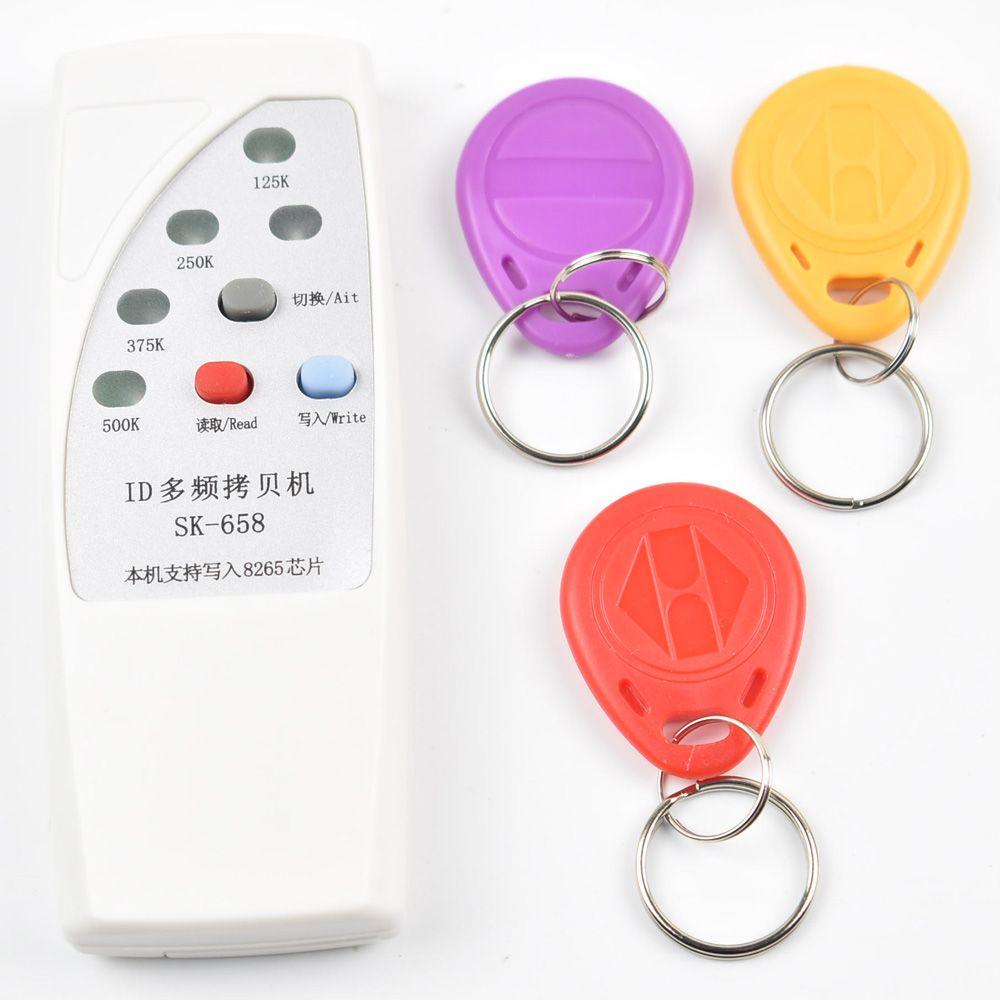 Handheld 4 Frequenz 125 khz 250 karat 375 karat 500 karat RFID Copier/Duplicator/Cloner ID EM Reader & Writer & 3 stücke EM4305 T5577 Rewrite Tag