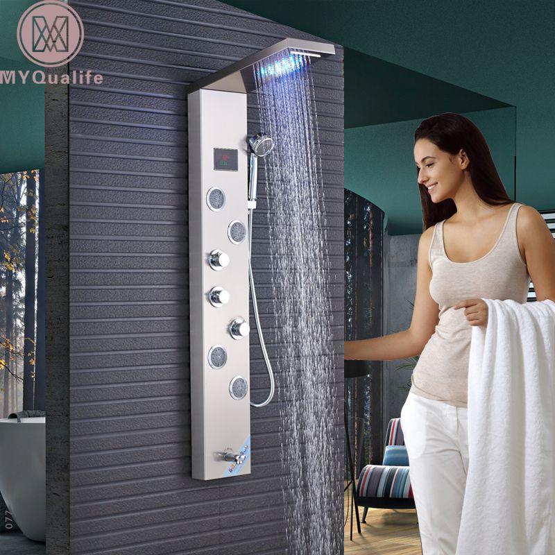 LED Light Waterfall Rain Shower Panel 4pc SPA Sprayer Jets 3 Handles Shower Column Faucet Tower W/Hand Shower Tub Spout