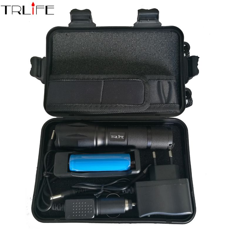 8000 Lumens Flashlight cree XML L2 Torch <font><b>High</b></font> Power Adjustable Led Flashlight +DC/Car Charger+1*18650 Battery+Holster Holder