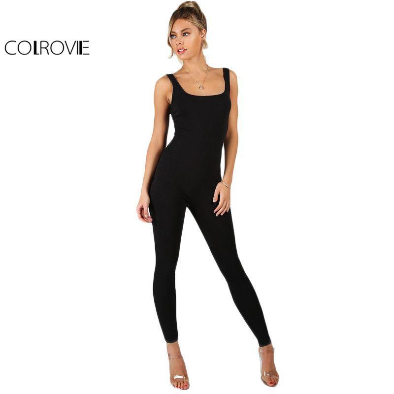 COLROVIE Black Bodycon Jumpsuit Women Sleeveless Brief Slim Basic Tank Jumpsuits 2017 <font><b>Fashion</b></font> Scoop Neck Skinny Sexy Jumpsuit