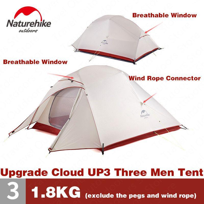 Naturehike Zelt Upgrade CloudUp Serie 3 Personen 20D Silikon Doppel schicht Aluminium Pol Ultraleicht Camping Zelt NH18T030-T