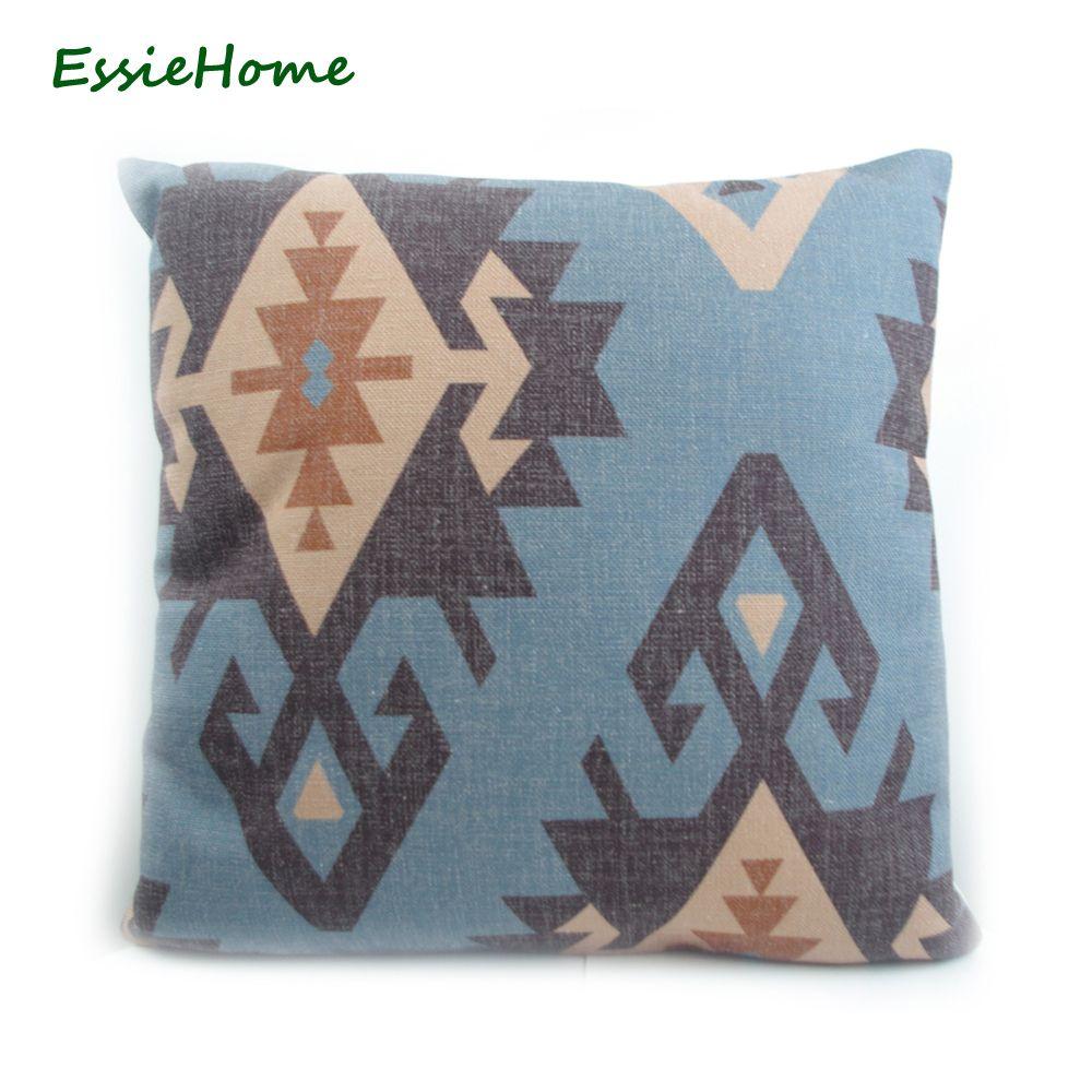 ESSIE HOME haut de gamme impression numérique bleu turc ethnique Kilim diamant taie d'oreiller motif housse de coussin pour canapé décoration de la maison