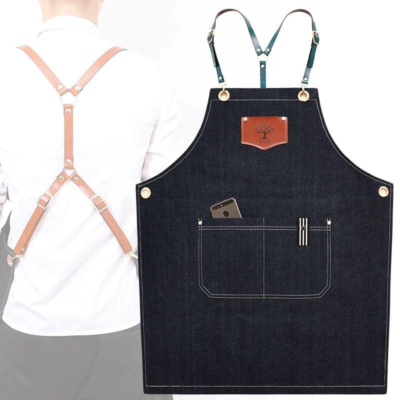New fashion denim aprons Cortex apron for the kitchen unisex Work delantal bartender pinafore bib pocket gift for man smocks