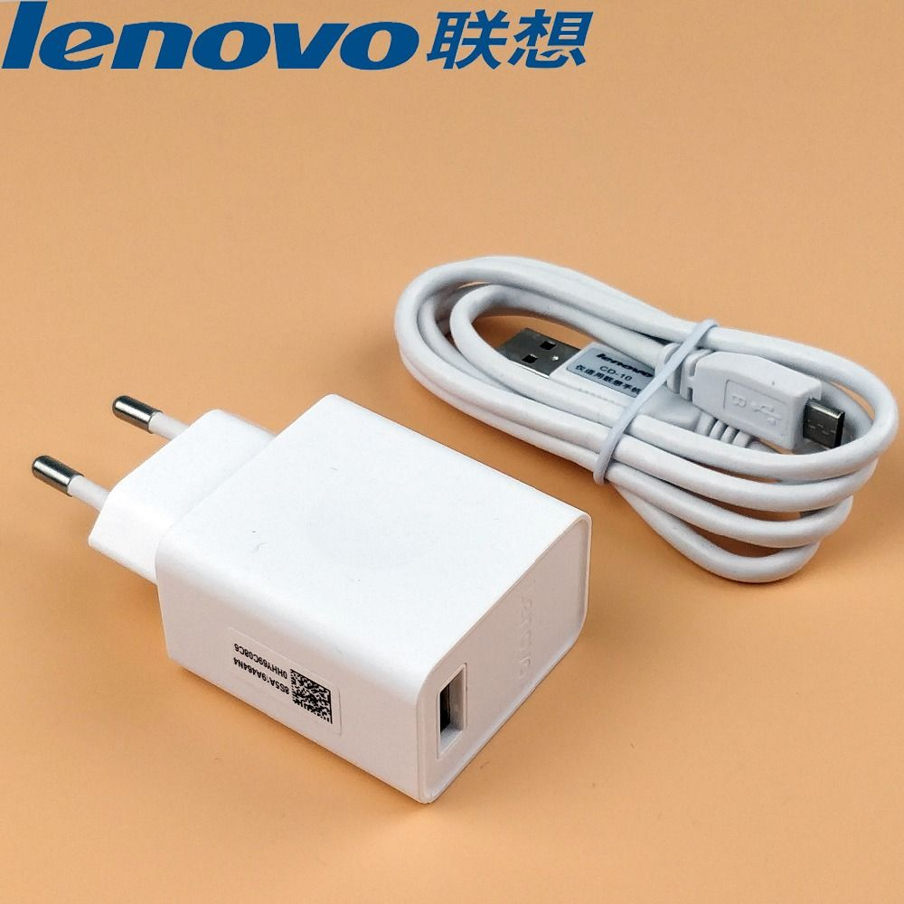 Original Lenovo P2 Charger P1 P2 K3 Note K5 K6 Vibe Shot S850 Phab 2 Plus Phone 5.2V 2A EU Charge Adapter and Micro usb cable