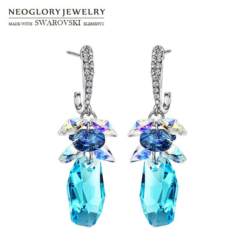 Neoglory boucles d'oreilles longues en cristal et strass à la mode géométrique robe de soirée dame ornée de cristaux de Swarovski