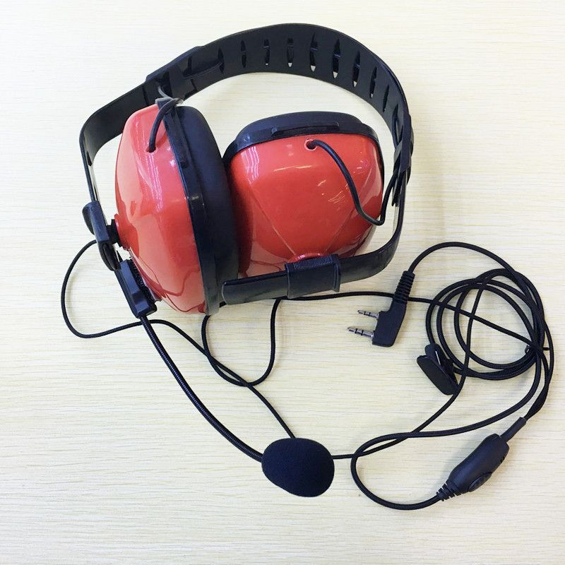 Red Color Noise canceling with mic K plug 2pins headset headphone for kenwood puxing tyt baofeng weierwei etc walkie talkie