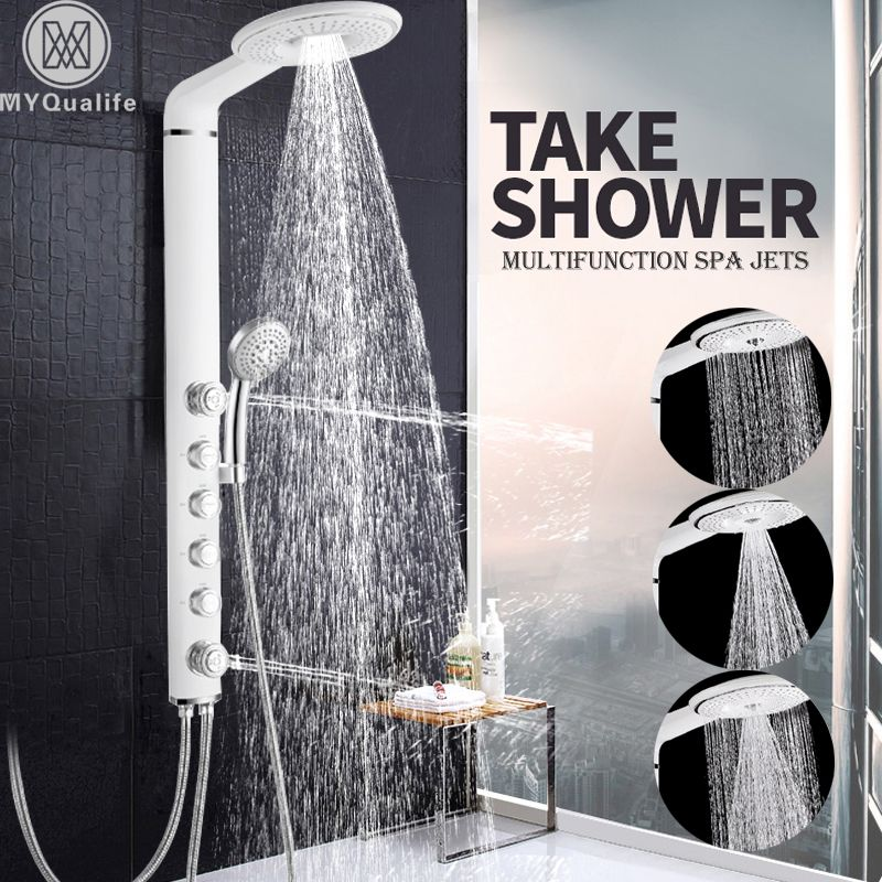 White Shower Panel Wall Mount SPA Massage Shower Head Bathroom Shower Faucet Column 4 Handles Shower System Mixer Tap
