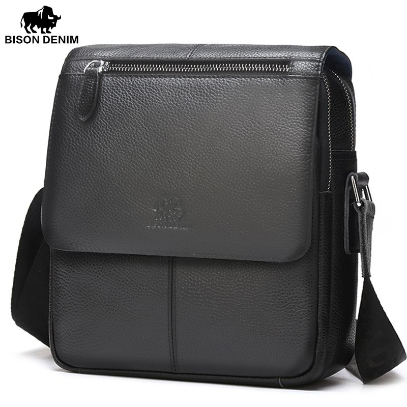 BISON DENIM Men bags 100% Genuine Leather Bag Men Classic Black Business CrossBody Bag Designer Cow Leather bags N2532