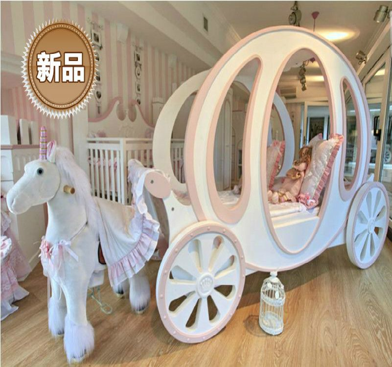princess carriage bed for child room furniture-give a fairy tale for girls