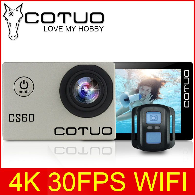 COTUO CS60 4K <font><b>30fps</b></font> WiFi 16MP Action camera Ultra HD 170D 1080P 720P 120fps go 30m waterproof pro 2.0 LCD sports cam anti-shake