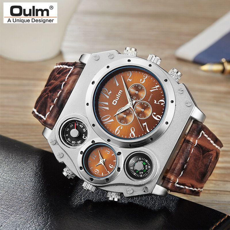 Nouveau Modèle OULM Montre Homme Quartz Sport Bracelet En Cuir Montres Mode Masculine Militaire Montre-Bracelet De Mode Horloge Masculino Relojes