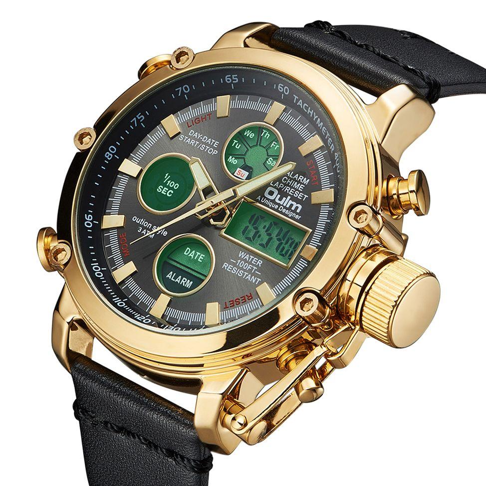 2019 OULM Big Size Military Dual Time Digital Watch Men Calendar Alarm Multifunction Waterproof Mens Watches Top Brand Luxury
