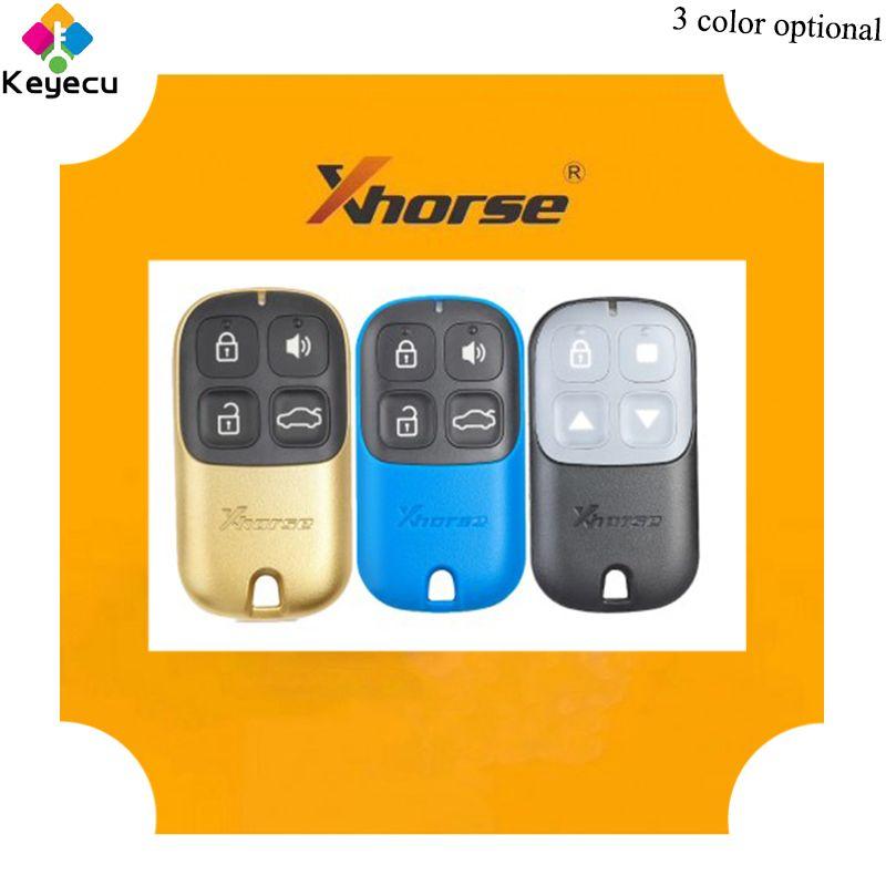 KEYECU XHORSE Englisch Version Multicolor Universal Remote Key-4 Tasten & Schwarz/Gelb/Blau-FOB für VVDI Schlüssel Werkzeug VVDI2