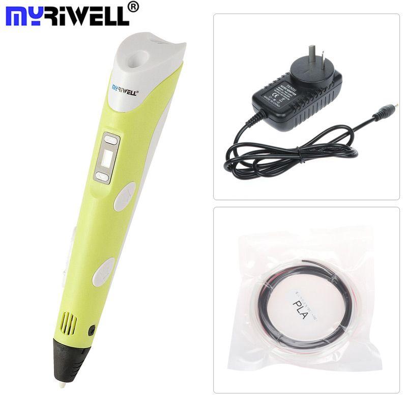 Myriwell 3D Stift Für Stereo Zeichnung Led-anzeige Mit 9 Meter 1,75mm ABS/PLA Kostenlos Filament Kreative Einzelteil Als Geschenk Gelb Rosa Farbe