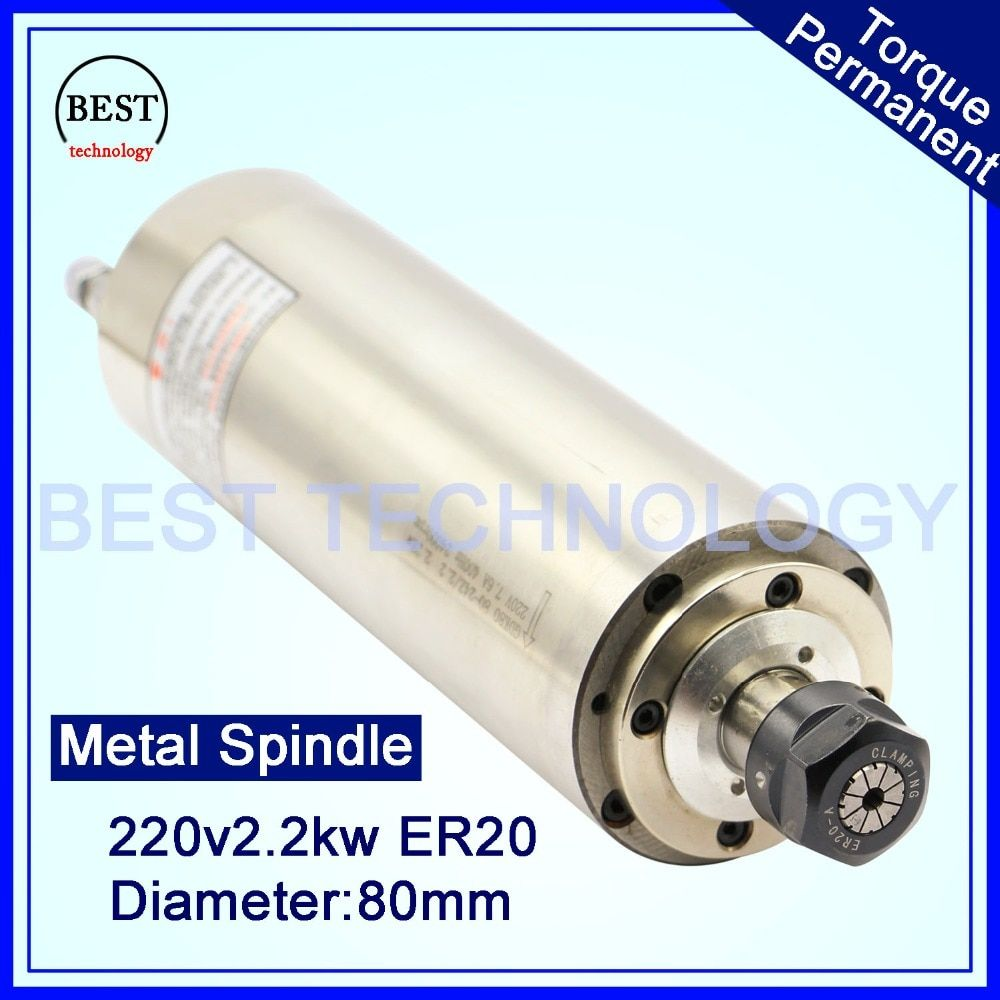 CNC Spindle Motor ER20 2.2KW 220V AC Water Cooled Spindle Motor 4pcs bearings working for wood door ,stone,soft metal !!