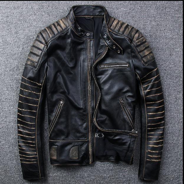 Kostenloser versand. New Vintage markenkleidung herren kuh leder Jacken männer echtem Leder biker jacke. motorrad homme Fitness